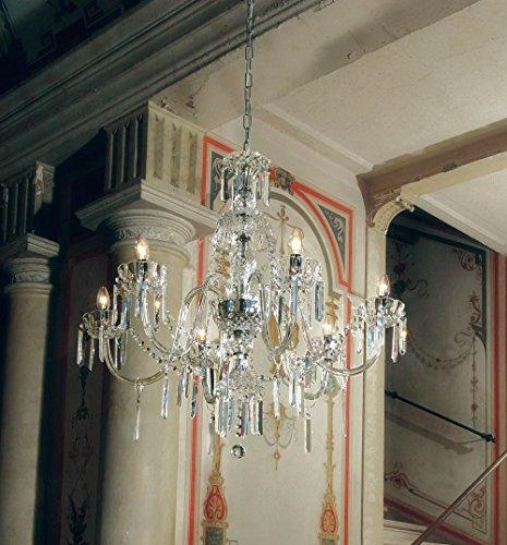 Bohemia - Lampadario in vetro di Murano con cristallo di Murano in cromo trasparente | fatto a mano in Italia | Luster classico dimmerabile | Lampada E14