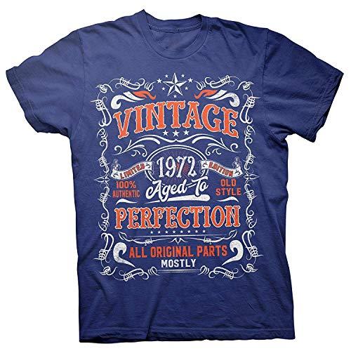 ENGDINGXIANPUZHAIWUJI 47 cumpleaños Regalo de la Camiseta - Vintage 1972 Envejecido a la perfección, 5X-Grande, Real-005