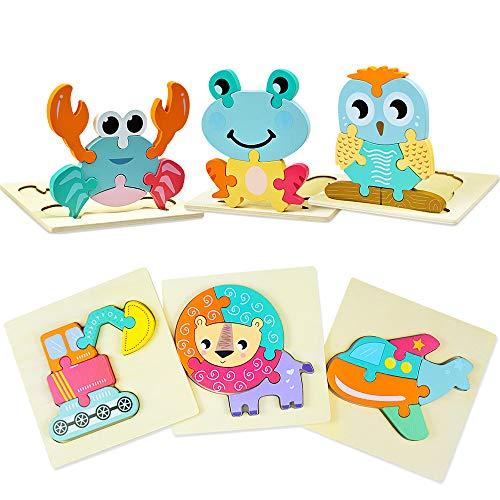 Nice2you Puzzle in Legno per 1 2 3 Anni, 6 Pezzi Montessori a Colori Multicolori, Giocattoli educativi per Bambini in età prescolare per apprendimento precoce