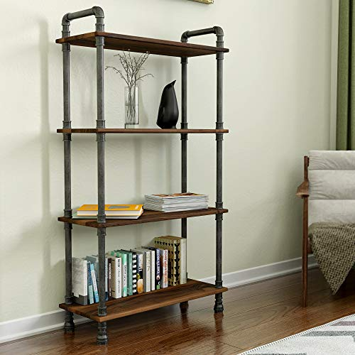 Barnyard Designs Furniture 4-Tier Bookcase, Solid Pine Open Wood Shelves, Rustic Modern Industrial...