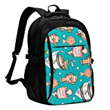 asfg Resistente a Las Manchas Pattern with Fishes Multifunctional Personalized Customized USB Backpack, Student School Outdoor Backpack,Travel Bag Laptop Bookbags Business Daypack.