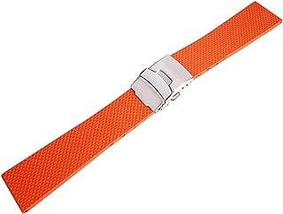Bonetto Cinturini 22mm Orange Rubber Watch Strap Model 300D