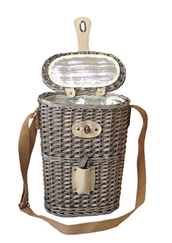 Flasche Carry Weidenkorb (isoliert) mit Korkenzieher. Weide mit Antique Wash