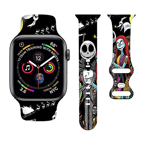 Halloween Anime Watch Bands Cartoons Smart Watch Band Compatible iWatch Soft Silicone Replacement Wristband Bands Universal All Black White 38mm /40mm for Women Men