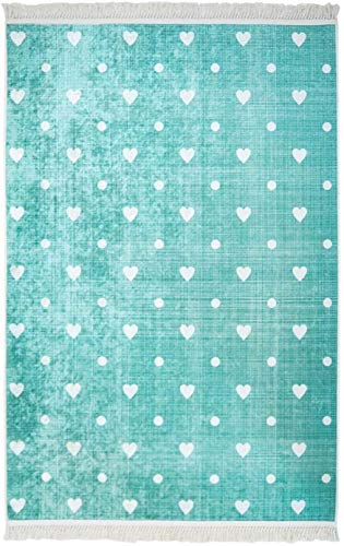 carpet city Kinder-Teppich Flachflor Polyester Waschbar Herzen Türkis mit Kettfäden Größe 120/120 cm Rund