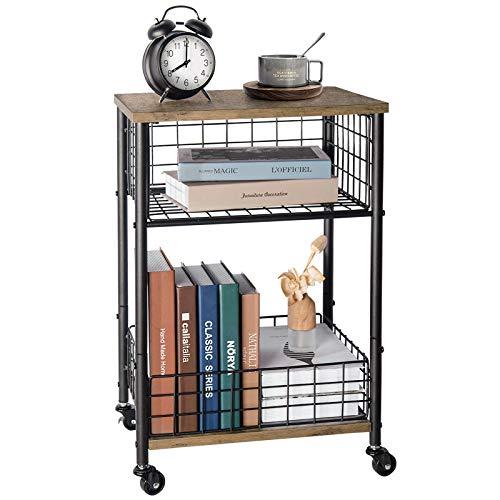 X-cosrack Beistelltisch-Rollen-Holz-Sofatisch-Rolltisch-Nachttisch-Wohnzimmertisch Klein CouchtischMetall Kleiner Tisch für Sofa, Wohnzimmer, Schlafzimmer