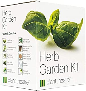 Plant Theatre Herb Garden Seed Kit Gift Box - 6 Different Herbs to Grow, Includes: GREEN ITALIAN PARSLEY, SWEET BASIL, CILANTRO, TARRAGON, CHIVE AND THYME Seeds. Everything you need to start growing in one box! Superb Gift!