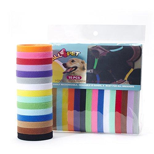 All4pet 15pcs/Set Soft Fabric Velcro Puppy Collars Puppy ID Collars Puppy ID Bands Adjustable