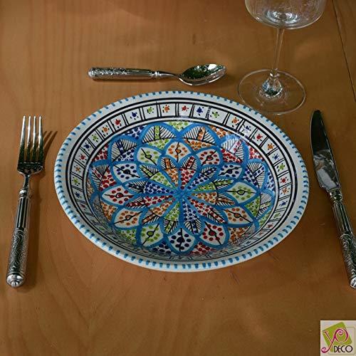 YODECO creuse Bakir Teller, Keramik, Mehrfarbig, 24 x 24 x 5 cm