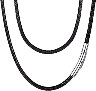U7 2mm 3mm Black/Brown Leather Cord Necklace with Stainless Steel Clasp, Men Women Woven Wax Rope Chain for Pendant, Lengt...