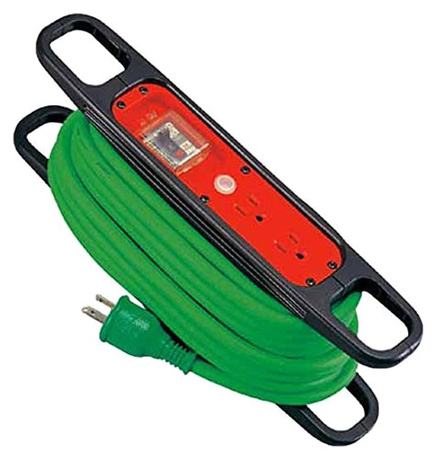 結核固めるポンド日動 ハンドリール 100V 3芯×10m 緑 アース過負荷漏電しゃ断器付 HREK102G