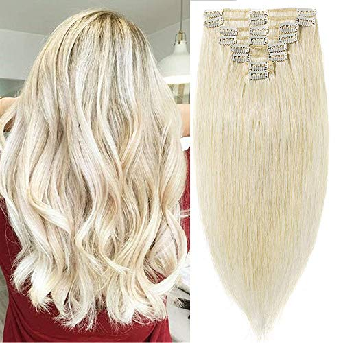 Clip in Extensions Echthaar Haarverlängerung Haarteil 8 teiliges SET Remy Haar Platinumblond#60 50 cm (105 g)