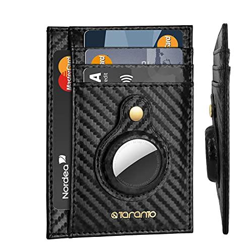 Billeteras para Hombre con Fundas Airtag T TARANTO Cartera airtag Billetera para Tarjetas de Crédito con protección RFID y Airtag Cartera de Hombre 6 Bolsillos Cuero de Fibra de Carbono