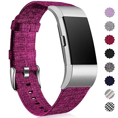 Maledan Bands Compatible with Fitbit Charge 2 and Charge 2 HR Fitness Activity Tracker, Durable Woven Fabric Strap Replacement Band for Women Men, Small, Fuchsia