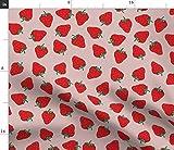 Spoonflower Stoff - Erdbeeren Obst Rot Rosa Frühling