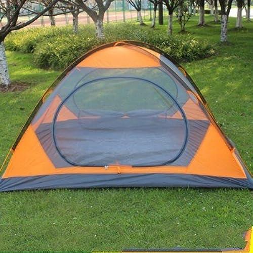 Zhudj NEUF Tube en aluminium pour camping, double pont de double Tente, imperméable et prougeection solaire Camping Tente de plage, Orange