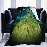 CERYS RILEY Prin-Cess and Fr-og Comfortable Ultra-Soft Micro Fleece Blanket Black 50'' x40