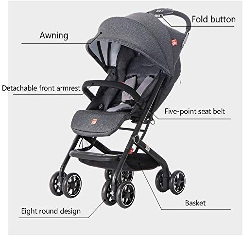 LAMTON Baby Stroller for Newborn, Stroller Stroller Shock Absorber Umbrella Light and One-Handed Foldable Comfortable Sitting, 5 (Color : Red1) LAMTON Adjustable handlebars for people of all heights can adjust the most comfortable push position Easy to fold, can be picked up in the trunk of the car, his parents urge him to go shopping, travel, walk, play and talk, or picnic outdoors The aluminum alloy triangle frame is safer, safer and more secure. 4
