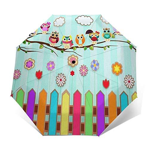 Regenschirm Taschenschirm Kompakter Falt-Regenschirm, Winddichter, Auf-Zu-Automatik, Verstärktes Dach, Ergonomischer Griff, Schirm-Tasche, Eulenzweig Zäune Wildblume