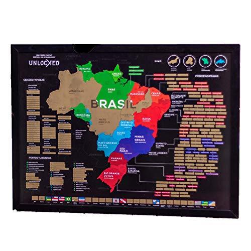 Mapa do Brasil de Raspar 88x66 CM | Unlocked | Com moldura | Scratch off Brazil Map | Mapa Raspadinha