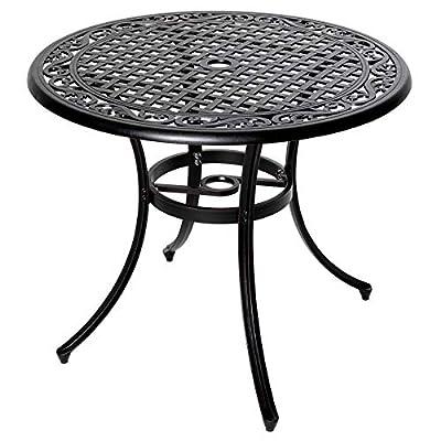 Nuu Garden 36 Inch Outdoor Round Patio Table Cast Aluminum Bistro Conversation Table with Umbrella Hole Black