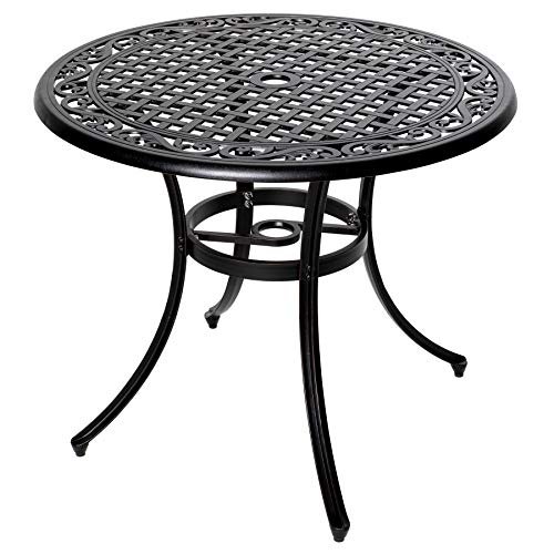 Nuu Garden 36 Inch Patio Table with Umbrella Hole, Outdoor Round Cast Aluminum Bistro Table - Black/Dark Bronze