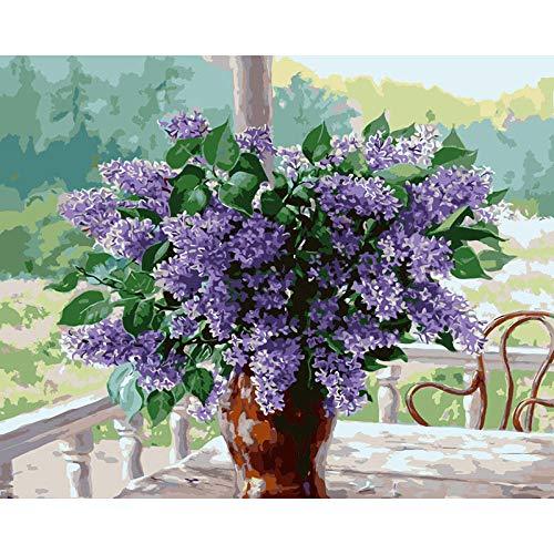 Malen nach Zahlen Kit,ART DIY Ölgemälde Malen nach Zahlen Erwachsene Kinder, Arts Craft für Home Wand-Decor 40 x 50 cm(Ohne Frame) -215 lila Blume