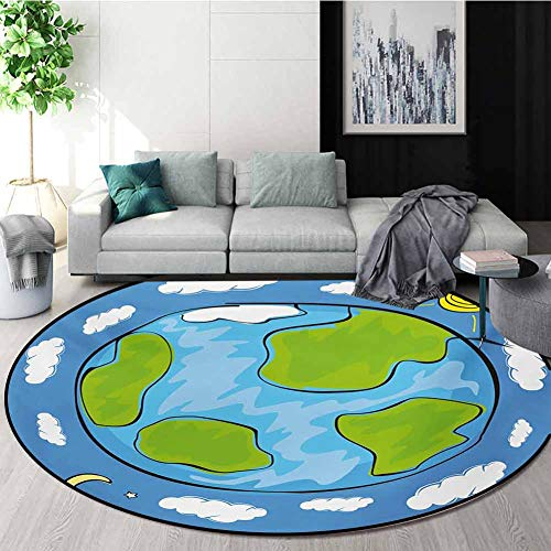 Review Of RUGSMAT Earth Round Rug,Childs Drawing of The Planet Earth Surrounded with Clouds Day and ...