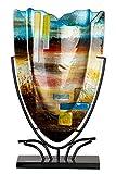 GILDE GLAS Art - Jarrón decorativo de cristal pintado a mano (47,5 cm)