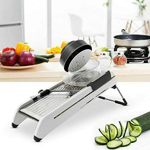 Gemüse Shredder, Küche Mandoline Lebensmittel Shredder 4 Einstellbare Scheiben 2 Vernichtet und 1 Waffelschneider for Tomate Kartoffel Aubergine Karotte Zwiebel Shredder Shredder Fruit Shredder