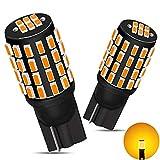 GOSMY ゴシミ T10 LED アンバー 爆光 12V-24V車用 ポジション/カーテシー/トランクランプ LED T10 3014LEDチップ54連 イエロー ルームランプ 車検対応 (一年保証.2個入)