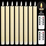 Eldnacele Flameless Flickering Taper Candles with 2 Remote Controls and Timer, Real Wax 3D Wick Light Window Candles Battery Operated Pack of 8, Christmas Home Wedding Decor (Ivory, 0.78 X 9.64 Inch)