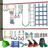 Dripex Hinderniskurs für Kinder – 15M Ninja Slackline mit komplettem Zubehör für Kinder, Schaukel, Trapezschaukel, Seilleiter, Hindernisnetz plus 1.2 m Armtrainer