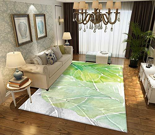 YQZS moderne anti-slip kamer tapijten afdrukken en verven groene bladeren salontafel slaapkamer tapijt huis grote tapijt mat 160X230cm(63X90inch)