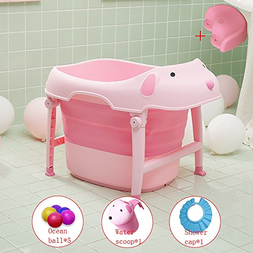 Baignoire Bébé Pliable Baril Baignoire Bébé Nouveau-né Assis Menteur (Couleur : Pink)