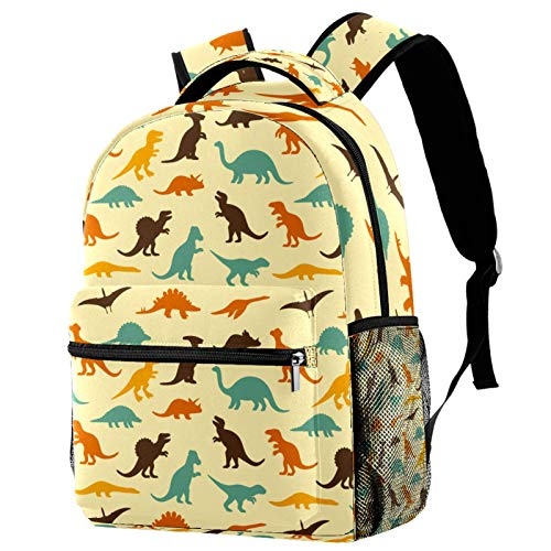Laptop Backpacks Personality Travel Daypack with Bottle Side Pockets Dinosaur Animal
