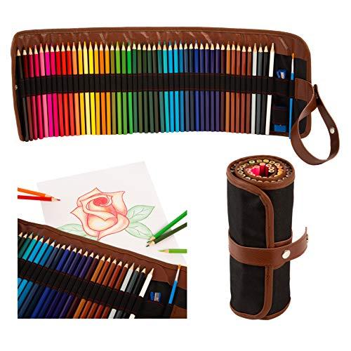 NEU - Aquarell Buntstifte Set - 48 neue strahlende Farben - mit praktischer Rollmappe - für Kinder & Erwachsene - für kreatives Malen