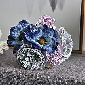 BHJD Nordic Peony Bouquet Silk Artificial Flowers Anemone Wedding Bridal Bouquet Mixed Fake Flower Flux Plants Garden Room Decor(Blue)