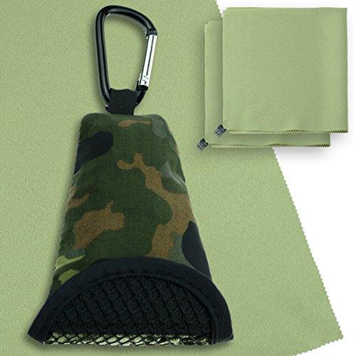 RedTent Outdoor BW Buddy Towel Microfaser-Tuch, leicht, saugfähig, schnelltrocknend & antibakteriell, inkl. Bundeswehr Flecktarn Hülle, Karabiner + 2 Ersatz-Tücher (Flecktarn Grün)