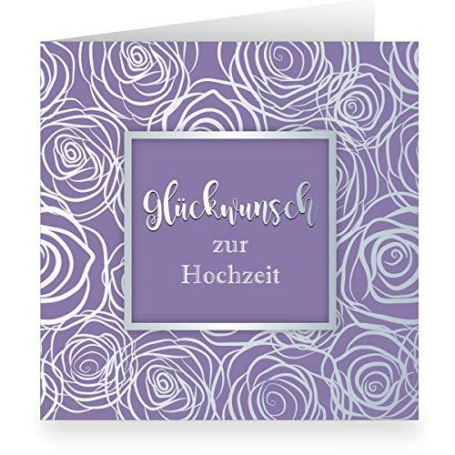 Lila trouwkaart met rozen bloemen modern weelderig in zilveren look binnen wit (vierkant, 15,5 x 15,5 cm incl. envelopp): felicitatie voor bruiloft grote XL kaart voor familie, vrienden, medewerkers 12 Grußkarten