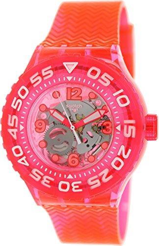 Swatch Mujer Originals SUUP100neón rosa de goma Swiss reloj de cuarzo