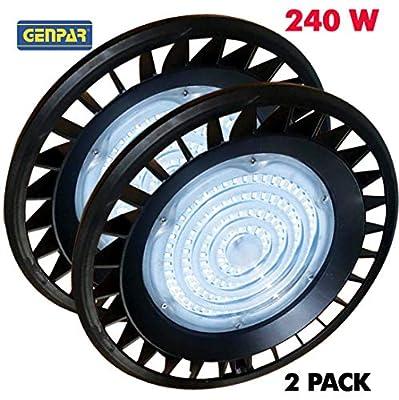 GENPAR 240W (2-PK) UFO LED High Bay Light 800W HPS/MH Equivalent 26000LM lumens Daylight White 6000-6500K IP65 Waterproof Warehouse Lighting Fixture Commercial Shop Lighting Factory Industrial Garage