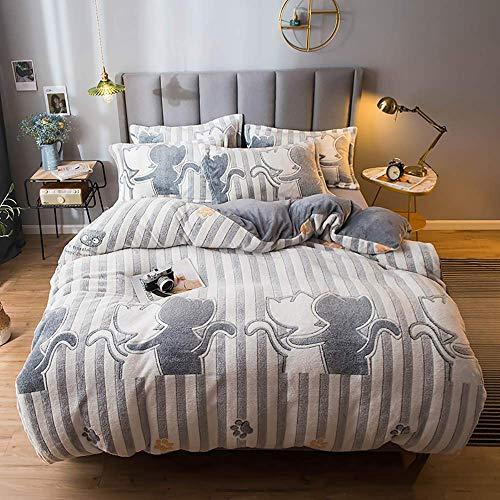 Fundas de edredón para cama doble para niños, juego de cama King Size Floral, juego de ropa de cama Juego de funda nórdica con sábana ajustable Juegos de fundas de edredón de invierno Franela cálida