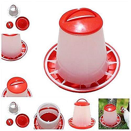 NA Alimentador de Alimentos de plástico de 1,5 kg Alimentadores de Aves de Corral de gallina casera con Tapa Cubo de asa Perros Gatos Dispensador de tazón de Comida Raza de mascotas1213, Rojo, China