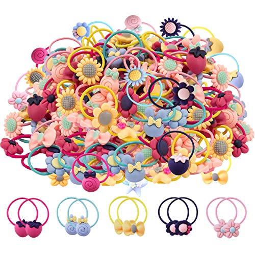 100 Piezas Mezcla de colores Lazos para el Cabello para niñas Bandas de goma suave Bandas para el cabello Soportes de cola de caballo Accesorios para el Cabello para niñas (50 pares)