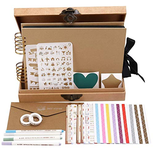 INNOCHEER Scrapbook Classic Photo Album Storage Box, 80 Pages Craft Paper, DIY Accessories Kit