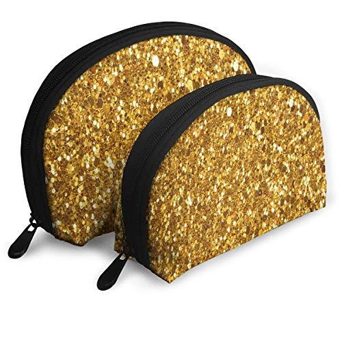 Trousse de Maquillage Jaune Étincelant Portable Shell Trousse De Toilette Organisateur pour Femmes Thanksgiving Day Gift 2 Pack