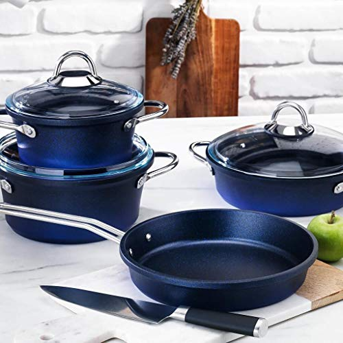 Schafer Husky Granite Steel Pot Set Cookware Sets Food Utensils Dinnerware Stainless Nonstick Cooking Clearance Ceramic Pots Pans with Cover, 7 Pieces