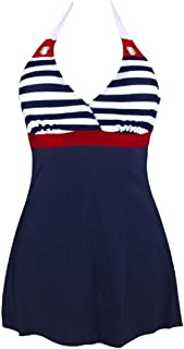 c802b28484 FREE Shipping. AMOMA Women Vintage One Piece Swimsuit Navy Stripe Sailor  Swimwear with Falsies