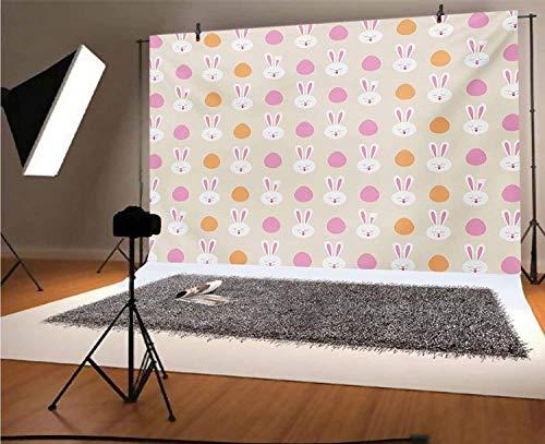 Fondo de vinilo para fotógrafos de Pascua de 7 x 5 pies, diseño infantil con caras de conejo y siluetas de huevo para decoración del hogar, decoración al aire libre